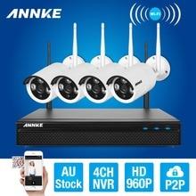 ANNKE 4CH CCTV System Wireless 960P NVR DVR 4PCS 1.3MP IR Outdoor P2P Wifi IP Security Camera Video Surveillance Kit