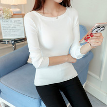 Tender sweater blouse Ji autumn tee shirt sleeved sweater  pullovers slim slim all-match routine pullovers