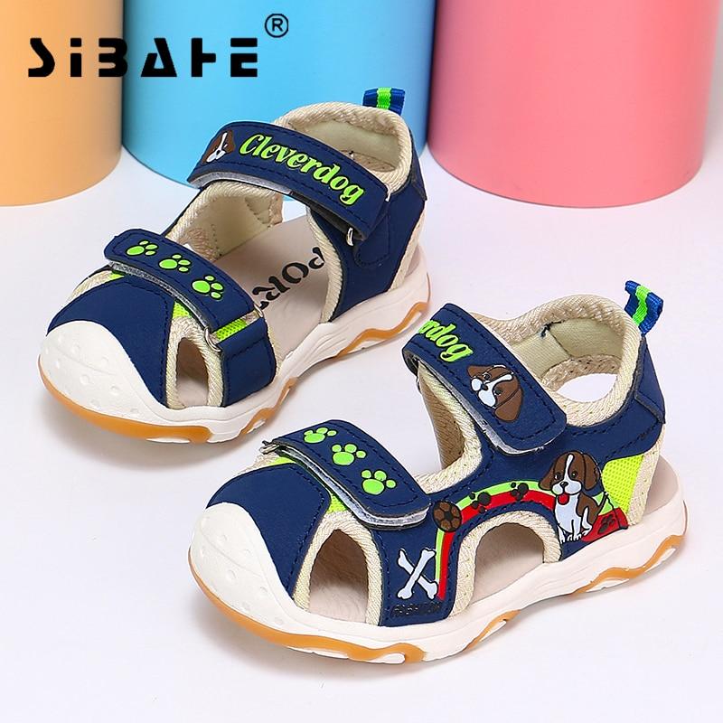 Sibahe Boy Sandals Pu Leather Closed Toe Beach Sandals Non-Slip Breathable Children Shoes Cartoon Fashion Summer Kids Sandals