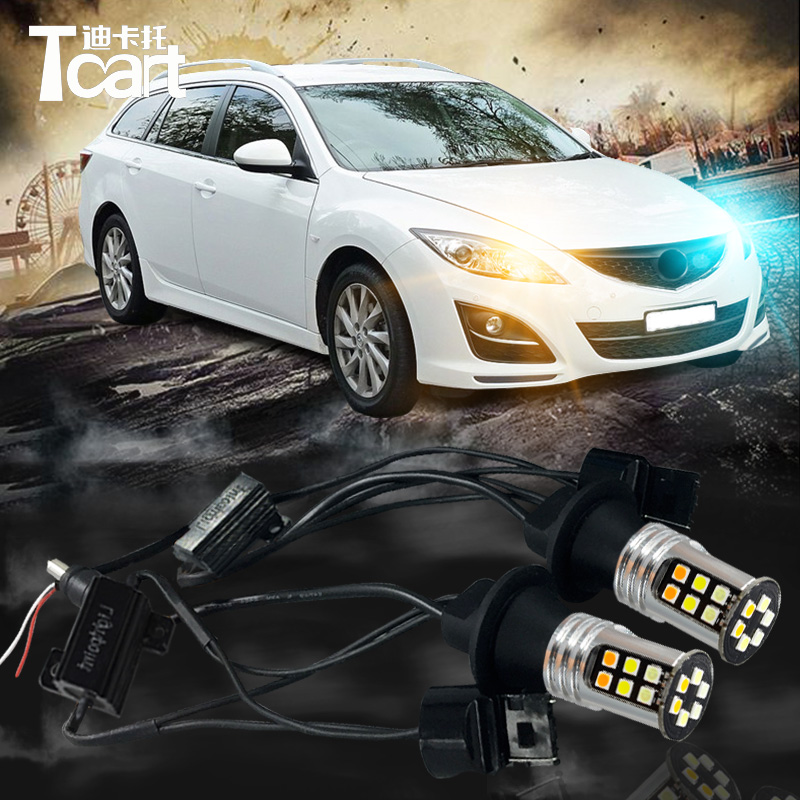 Tcart DRL Daytime Running Light&Turn Signal Light for mazda 6 2008-2012 3000lm 30w white car DRL yellow turn light 2pcs h4 30w 3000lm warm white light car head light