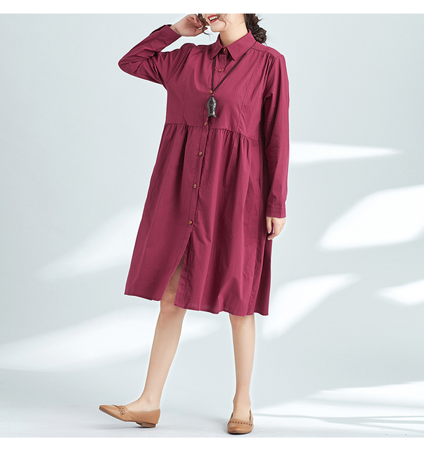 132de7a5bb7 P Ammy Vintage Cotton and linen Shirt Dress Turn-down Collar Long Sleeves  Oversized Ladies