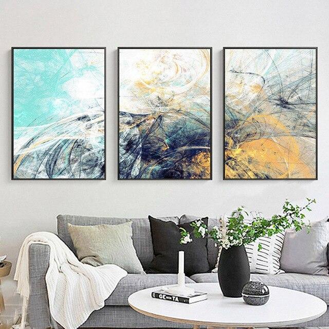 haochu nordic minimalistische blauw grijs geometrische lijn vorm art prints poster abstract muur foto canvas schilderij
