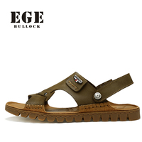 EGE Brand Solid Leisure Men Sandals Genuine Leather Sewing Slip On High Quality Classic Soft Flat Brown Beach Shoes For Men
