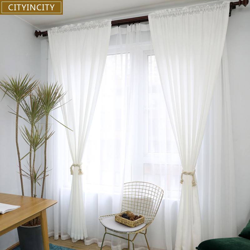 US $15.72 37% OFF|CITYINCITY white Curtains for Living room Rideaux Modern  sample Korean Style Window Curtain for Bedroom kitchen Customized-in ...