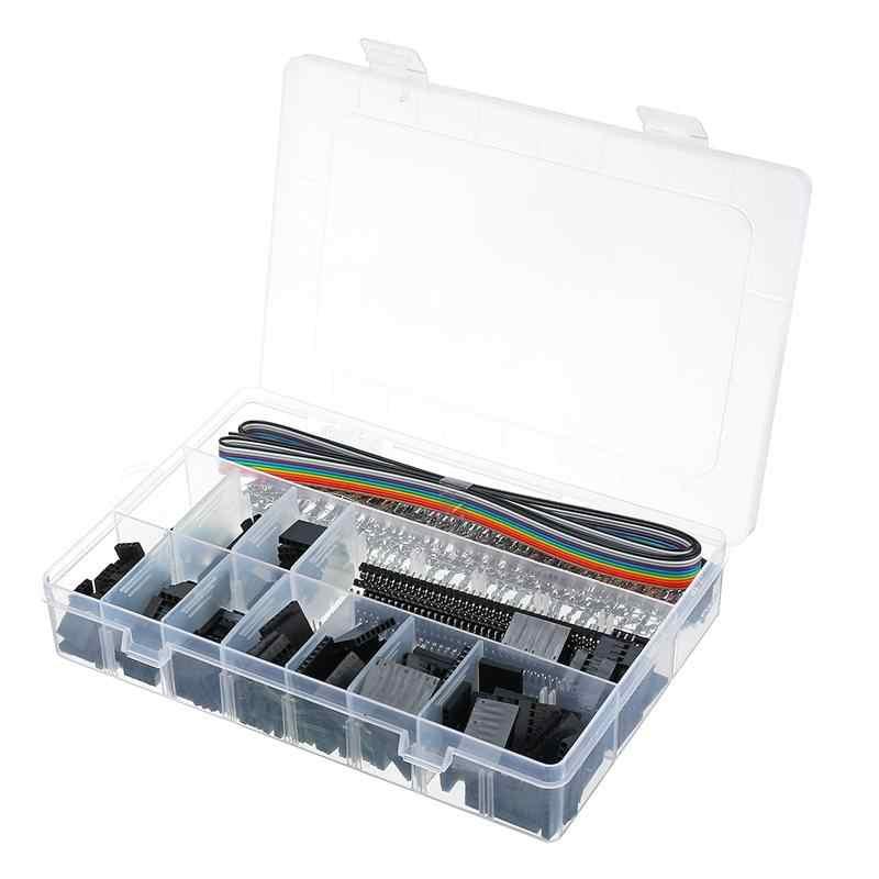 635 Stuks Dupont Connector Housing Mannelijke/Vrouwelijke Pin 40 Pin 2.54mm Toonhoogte Pin Header en 10 Draad Regenboog kleur Platte IDC Assortiment Kit
