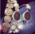 European and American big retro golden coin portrait hair bands gemstone tiara headband court