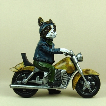 Novel Harley Bulldog Motorcycle Rider Statue Handmade Resin Pitbull Street Racer Sculpture Decor Ornament Souvenir Craft Gift