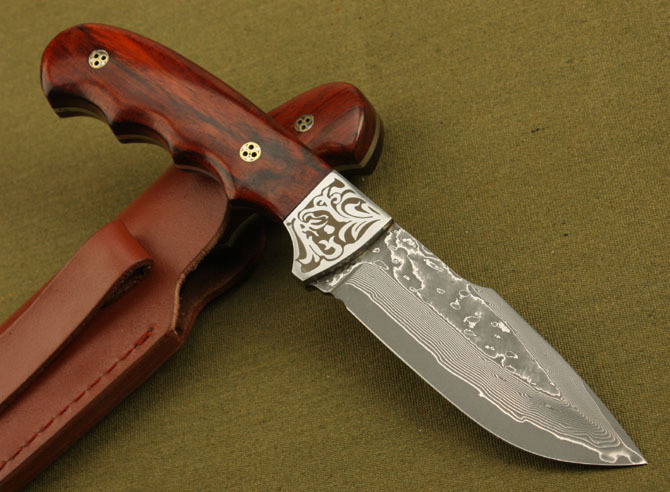 Handmade HRC Leather Damascus LCM66 Sheath Damascus Steel 59 With Knife Handle Steel Forged Ebony Fixed Hunting Knife