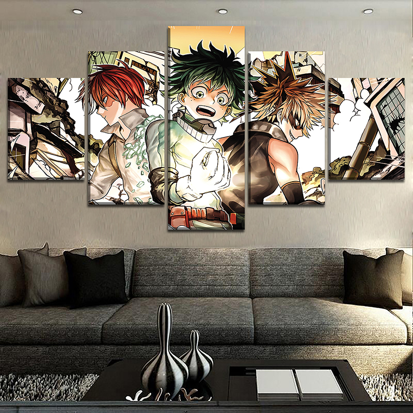 Canvas Pictures Home Decor Living Room Wall Art 5 Pieces My Hero Academia Character Painting HD Print Animation Poster Frame in Painting Calligraphy from Home Garden