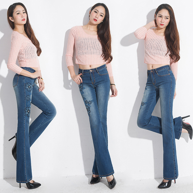 FERZIGE Stretch Embroidered Jeans For Women Elastic Jeans Female Bell Bottoms Denim Flares Pants