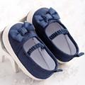 Novo Cute Adorável Bebê Recém-nascido Da Menina Crianças Prewalker Sola Macia Anti-slip Shoes Princesa Berço Mary Jane Calça Jeans Azul Bow Calçados