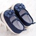 Nueva Encantador Lindo Recién Nacido Baby Girl Kids Prewalker Suave Suela antideslizante Zapatos de Cuna Princesas Mary Jane Jeans Azul arco Calzado