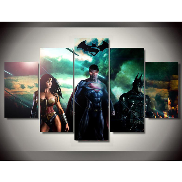 HD Printed Modern Canvas Wall Art Poster 5 Panel Movies Justice ...