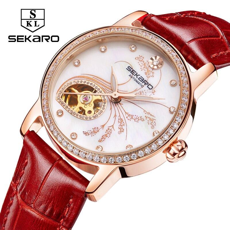 Mulheres Diamantes de Luxo de Couro SEKARO Moda relógio Mecânico Qualidade Superior Padrão de Flor de Lavanda Relógio das Mulheres Relógio de Pulso Presente - 5