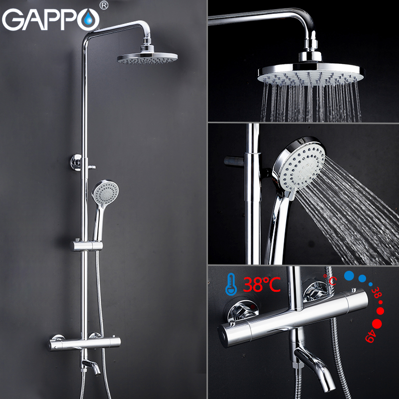 Gappo Thermostatic bath shower BRASS bathtub faucet lift adjustable hot cold water big round head shower