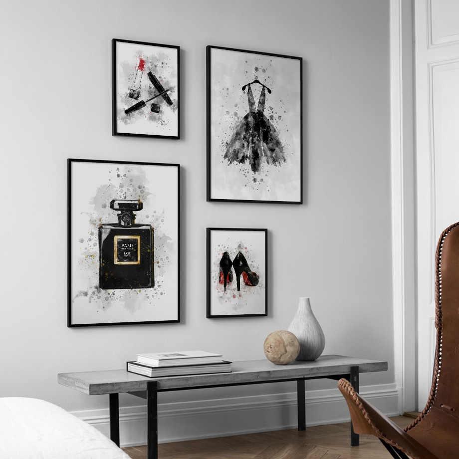 Парижский парфюм высокие каблуки губная помада платье макияж настенный художественный холст плакаты с живописью и принты настенные картины для Декор в гостиную