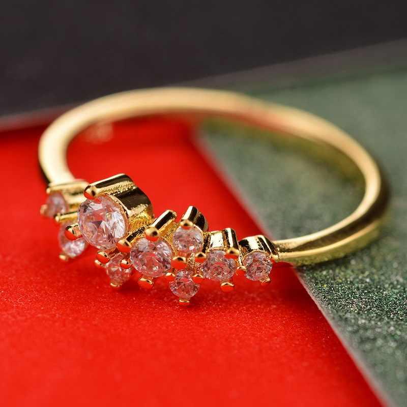 LASPERAL חדש 925 סטרלינג כסף אופנה נשי אצבע זהב צבע טבעות נשים חתונת תכשיטי קריסטל המפלגה ריינסטון טבעת