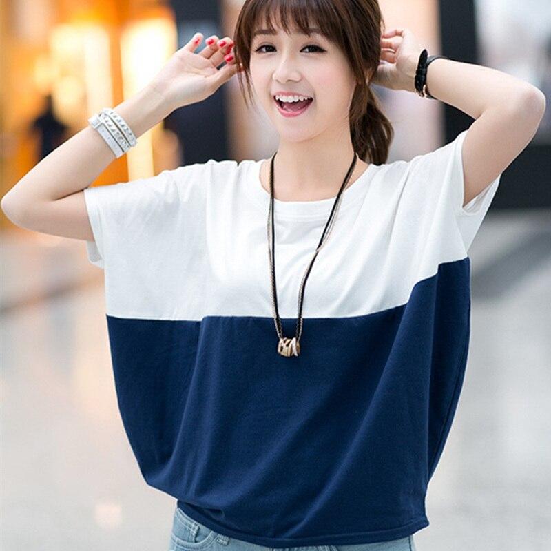2017 Summer Korean large size women loose short sleeve female T-shirt bat shirt students plus size