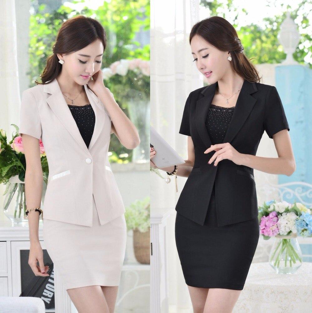Negro Formal de verano Blazer mujeres faldas de la chaqueta trajes  conjuntos ropa de trabajo para mujer trajes de negocios oficina salón de  belleza estilo