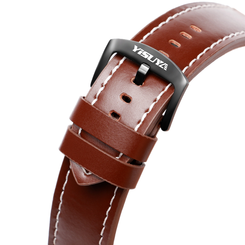 YISUYA 24MM Genuine Leather Smooth Band Wrist Watch Bracelet Brown Soft Replacement Watchband Strap Fashion + 2 Spring Bars