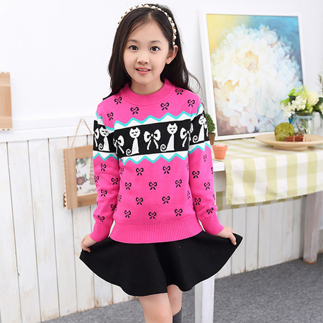 Promotion 2016 New Girls sweater  European and American Children Cardigan For  Kids O-Neck Pullover Sweaters