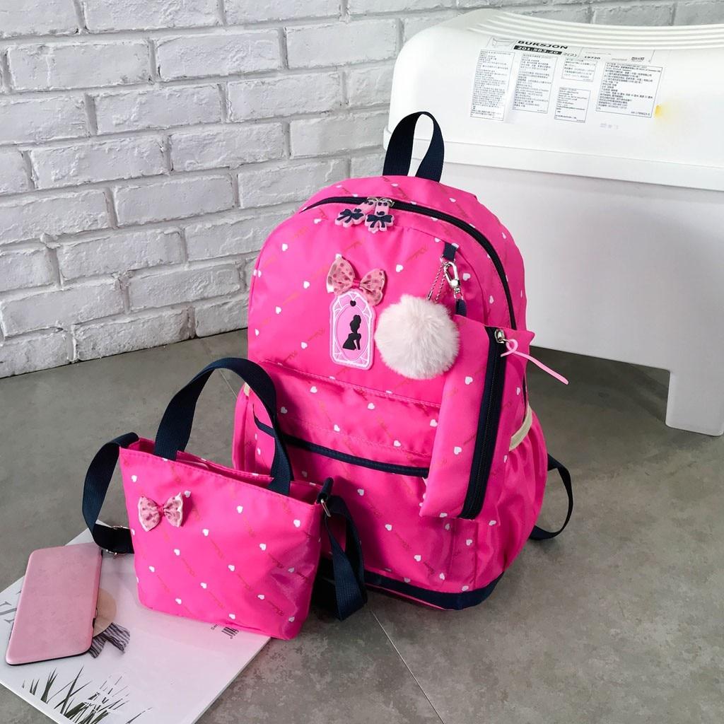 Women Bow Canvas Three-piece School Bag 16
