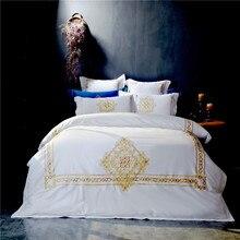 Svetanya белый Вышитые Роскошные Постельные Принадлежности Устанавливает Королева Король Размер Постельное Белье 100% Египетского Хлопка Постельное белье