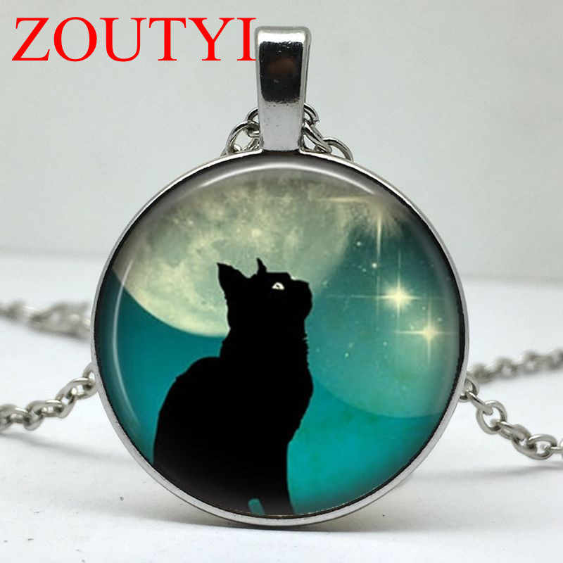 2018 / Fashion Glamour Black Cat Moon Round Pendant Necklace, Men's and Women's Pendant Necklace