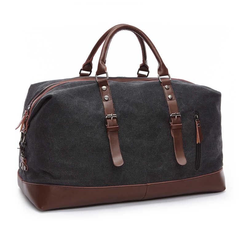 Холщовые мужские дорожные сумки большой емкости кожаные сумки для багажа дорожные вещевой мешок складные дорожные сумки