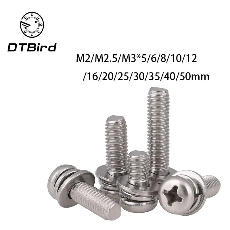 304 stainless steel round head Three combination M2 M2.5 M3 M2.5*6 M2.5*8 M2.5*10 M3*5 screws 2017 hot sale 20pcs m3 6 m3 x 6mm aluminum anodized hex socket button head screw