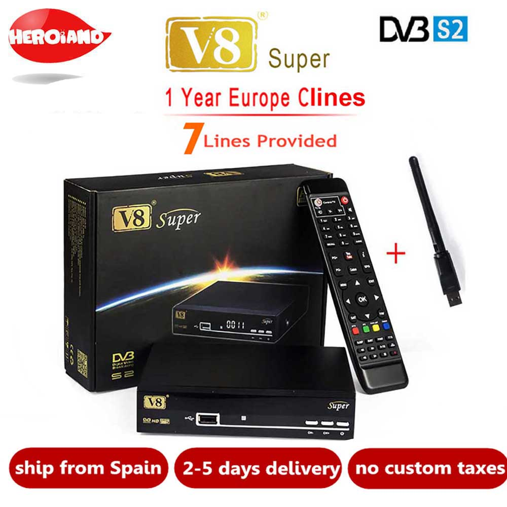 FREESAT V8 SUPER Récepteur DVB-S2 HD FTA Satellite TV Récepteur Avec 1 Année 7 CLINES Clines + USB WIFI 1080 p lnb Portugal Polonais TV