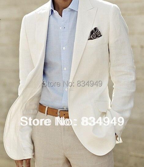 Aliexpress.com : Buy Ivory Linen Suit Custom Made Men White Linen ...