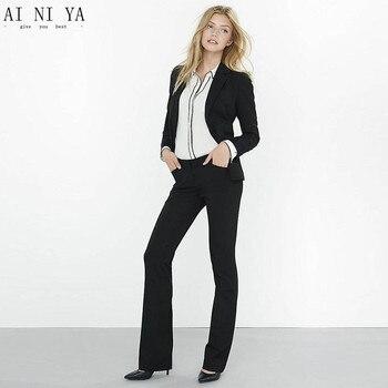 New Black 2 piece set women pant suits for weddings female business suit Formal office uniform designs women trouser suit custom