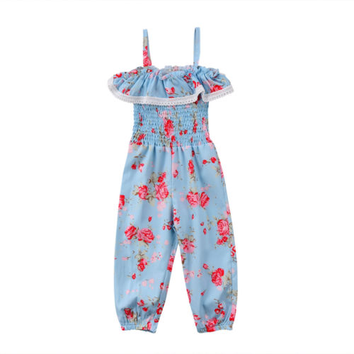 Kids Baby Girls Floral Sunsuit Clothes Girl Toddler Sleeveless Cotton Romper Tassels Ruffles Clothing Jumpsuit Strap Rompers Top
