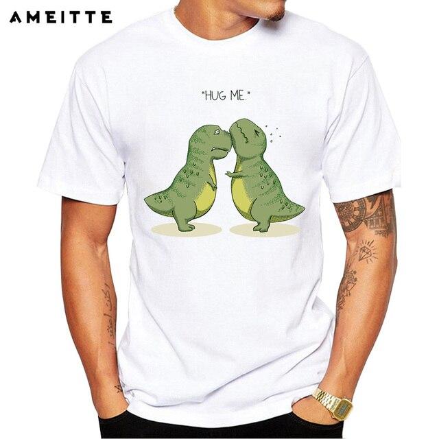 e744f6d8aefb 2018 AMEITTE Funny Dinosaurs hug me Printed T Shirt Men Cute Animals Tops  Summer Comfortable Soft O-Neck Short Sleeve Tee Shirt
