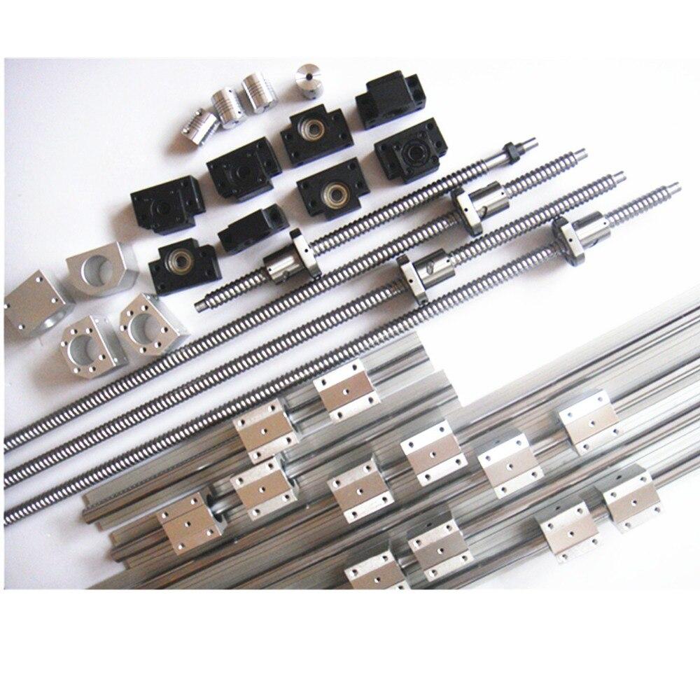 3 ensembles RAIL LINÉAIRE SBR-300/1200/2200mm ensembles + 5 vis à billes RM1605, 2005 + 4BK/BF + 4 des boîtiers + 4 RB coupleurs pour CNC