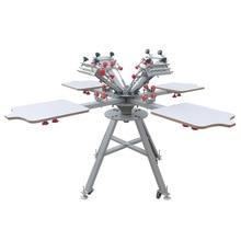 Darmowa wysyłka Micro rejestracja 4 kolor 4 stacja instrukcja maszyna sitodrukarska dla T drukarka do koszulek wyposażenie karuzeli