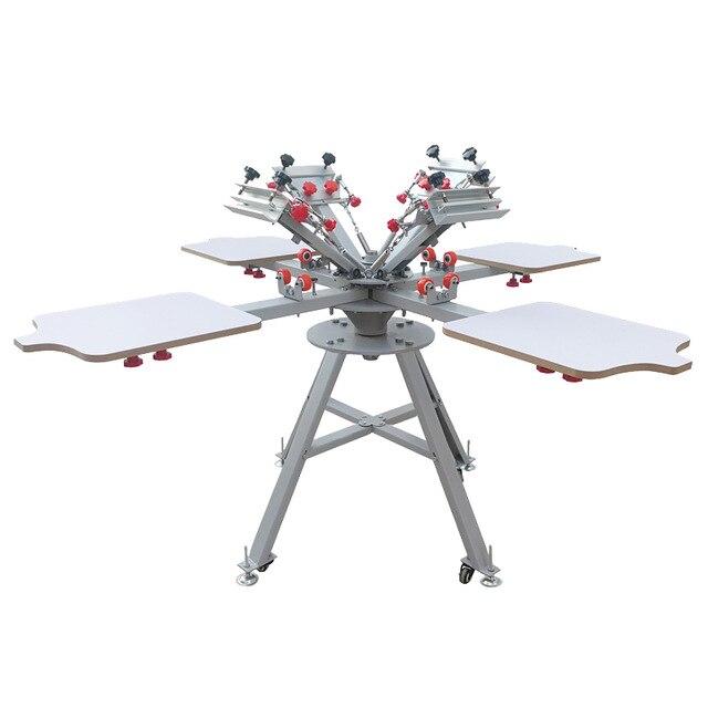 Envío Gratis Micro registro 4 color 4 estación manual de serigrafía máquina para equipos de impresora de camisetas