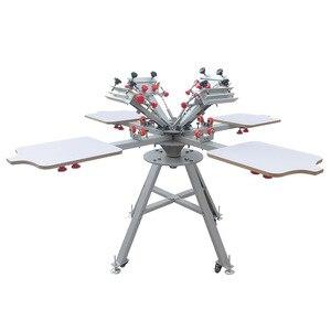 Image 1 - Livraison gratuite Micro enregistrement 4 couleurs 4 stations manuel sérigraphie machine pour t shirt imprimante équipement carrousel
