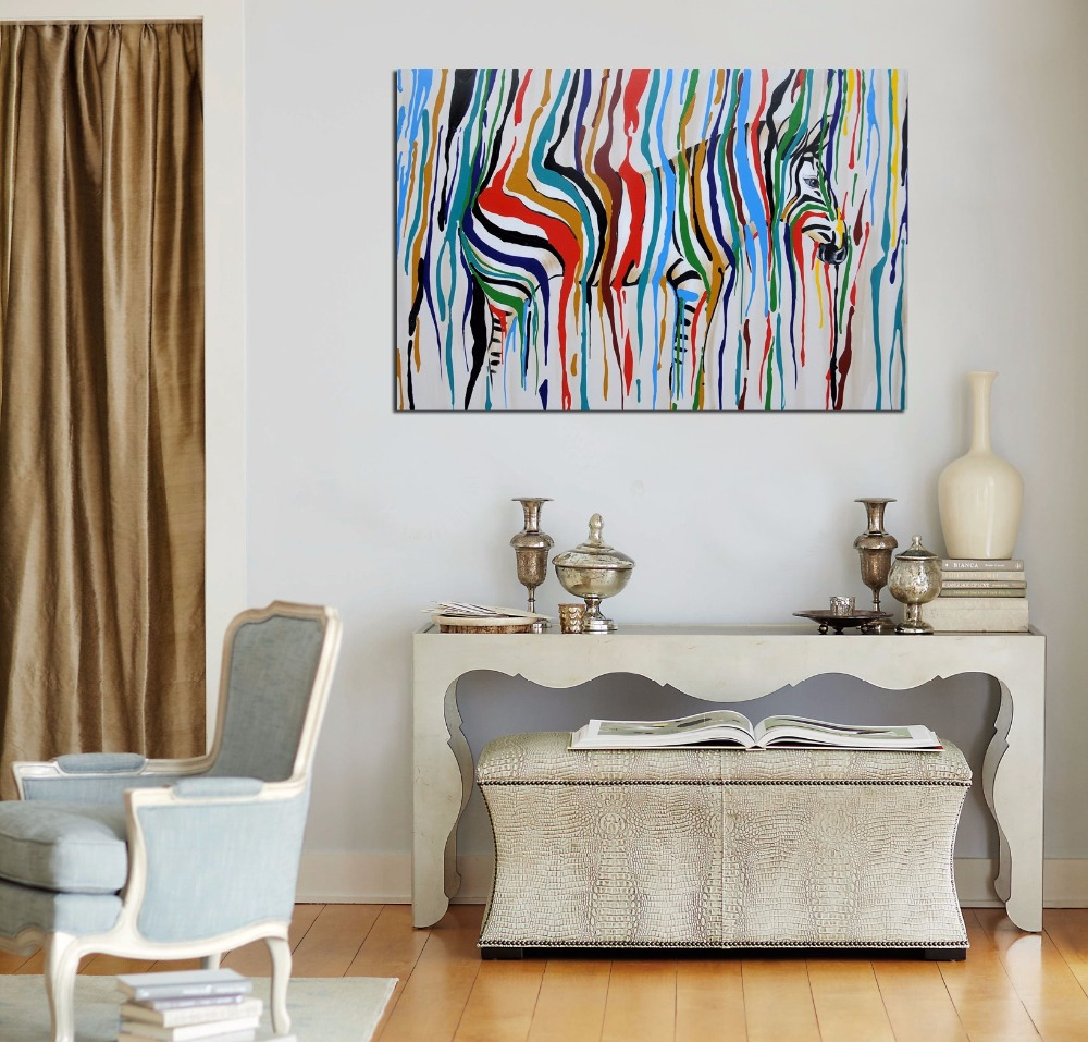 Colorful Horse Printed Oil Painting Zebra Canvas Art Pictures For ...