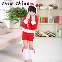 Woweile 3065 Children Santa Costume Women Christmas Party Fancy Two Parts Dress Cosplay Suit Free Shipping