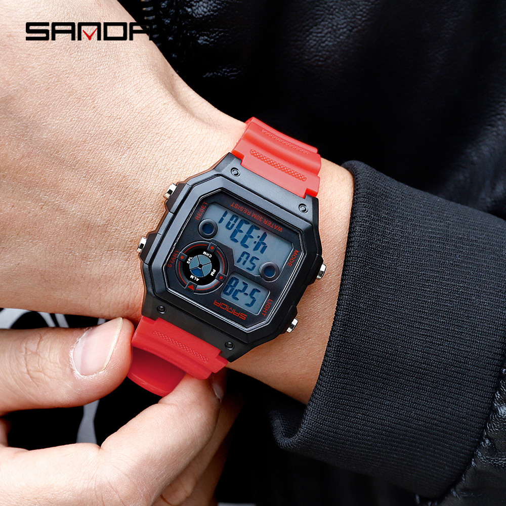 Image 4 - SANDA Brand Men Sports Watches Fashion Chronos Countdown Mens Waterproof LED Digital Watch Man Military Clock Relogio MasculinoDigital Watches   -