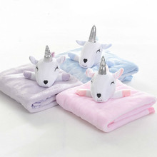 High Quality Baby Blanket With Toy Infant Bebe Flannel Swaddle Envelope Stroller Cartoon Newborn Bedding Blankets