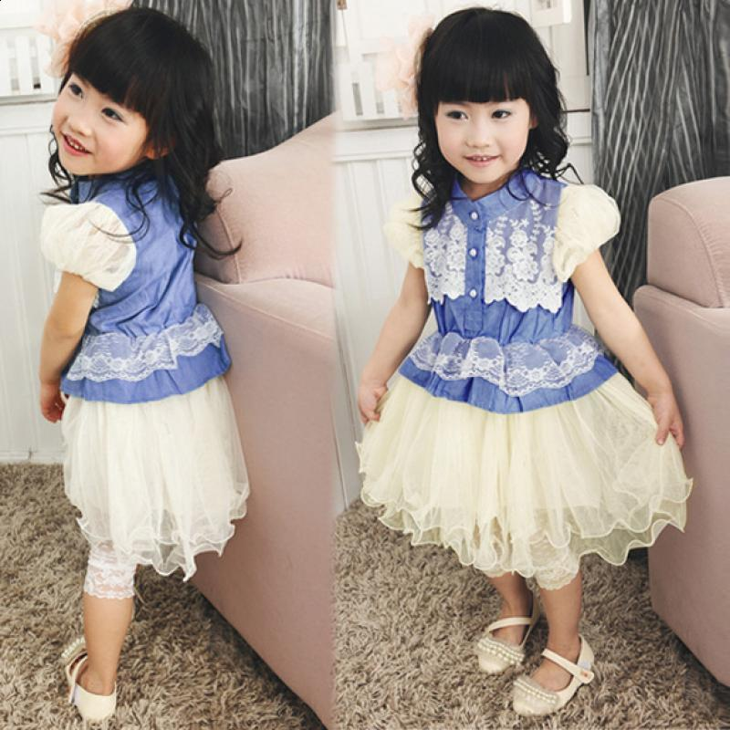Sleeve Dress Shirt Princess Baby Mesh 4Pcs Kids Splicing Girls Puff Summer Denim Lace puff sleeve peplum top