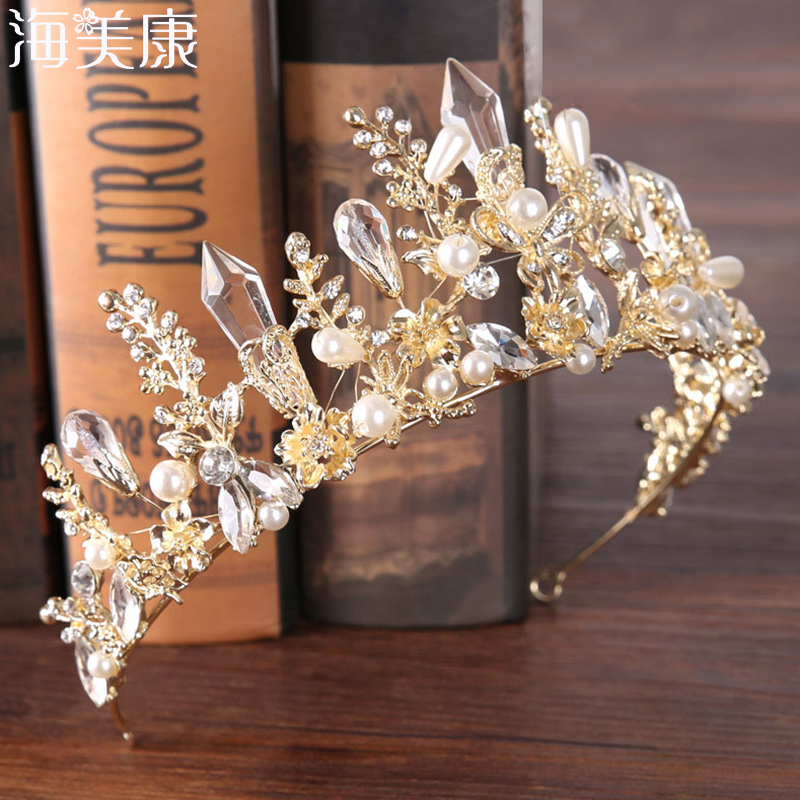 Haimeikang 2019 New Baroque Crown Headdress Bride