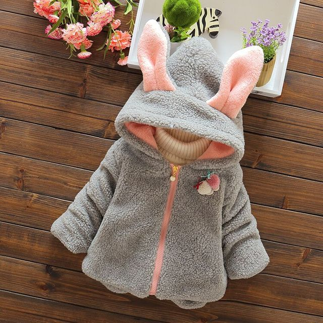 Infant Baby Boys Parka Toddler Girls Snow Wear Baby Coat Cute Rabbit Cotton-Padded Snowsuit Baby Winter Jacket Thick Baby