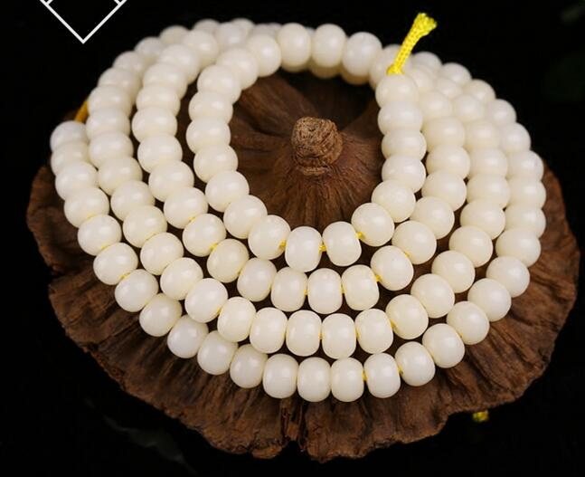 Bodhi root 108 hand string bracelet loose beads accessories high density and white diy Buddha beads necklace material pure hand made string beads bracelet amber abacus beads fringed bracelets baking blue craft accessories direct