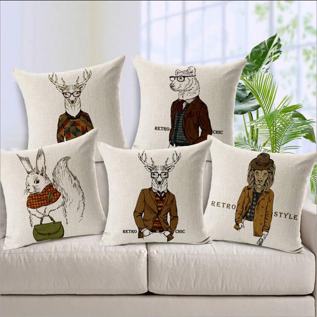 Cuscini Mr Mrs.Mr Mrs Animals Wonderful Cotton Dress Suit Cartoon Deer Sheep Lion