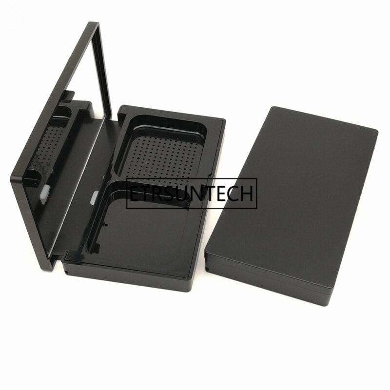 Черный компактных DIY порошок случае пустой коробка для румян с зеркало косметическое мучнистой торт контейнер F1326