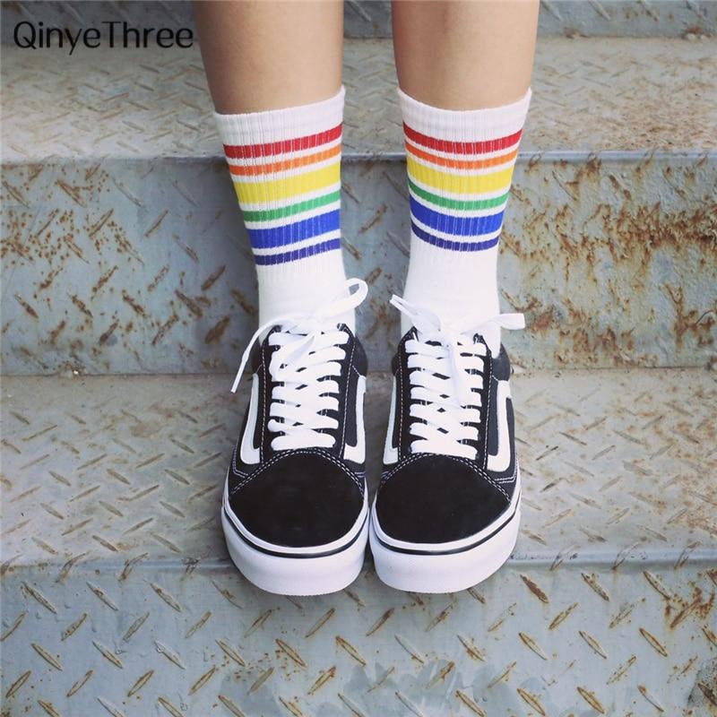 Unisex Rainbow Stripe Fruit socks Wild long cotton sokken Spring summer couple lovers meias college wind sox Drop shipping